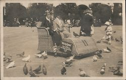 Couple in wicker car - With the pigeons - 1915 San Diego Exposition Postcard