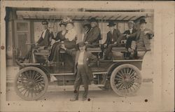 People riding an early omnibus car - ad for Denver Omnibus & Cab Co. Postcard