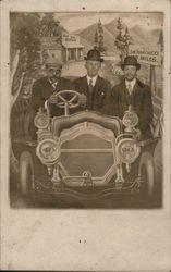 Studio photo of three men sitting in cartoon car driving through countryside Postcard