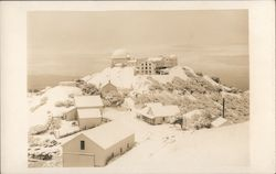 Observatory on mountain, buildings in winter Postcard