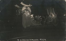 Shriners Parade of 1912 - parade float with electric lights Postcard