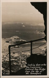 Looking down on the San Francisco-Oakland Bay Bridge from top of Mt. Tamalpais Postcard