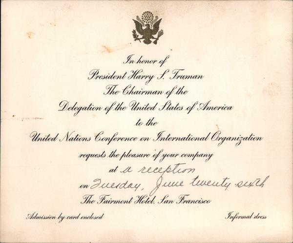 Invitation to reception for President Harry S. Truman at Fairmont Hotel San Francisco California