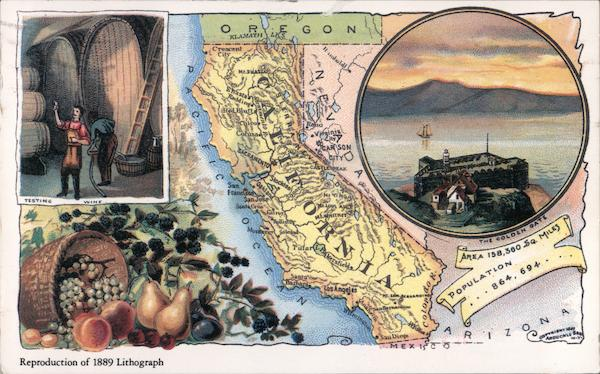 Reproduction of 1889 Lithograph: California Map and Views