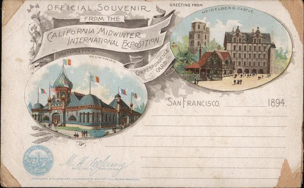 Official Souvenir California Midwinter International Exposition 1894 - Heidelberg Castle, Roumanian.