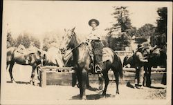 DeMille Motion Picture Co. Cowboy on horse, watering trough, horses. Oct 3, 1925 Original Photograph