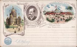 Rare: California Midwinter International Exposition 1894 - Agriculture & Horticulture, Administration Postcard