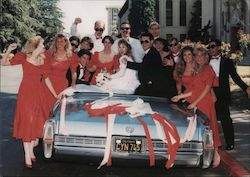 Just Weddings Photography. Wedding party in convertible decorated. Postcard
