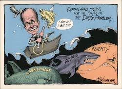 Captain Ahab fishes for the roots of the Drug Problem. President George Bush Caricature Postcard
