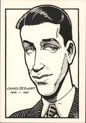 James Stewart 1908-1997 signed Rick Geary Postcard