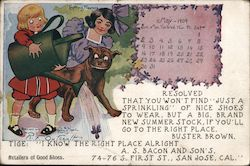 May 1909 calendar. Buster Brown Shoe Ad Postcard