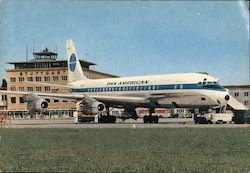 Pan American Airplane on Stuttgart airport tarmac Postcard