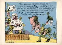 President George Bush bowing to Arab Sheik. We have arrived to defend the Sovereign Oil. Signed Postcard