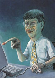 Bill Gates, Computer & Mouse, by Rudi Hurzlmeier Postcard