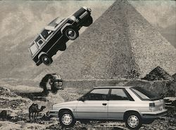 Jeep parked on pyramid, car and camel. Boardwalk Volkswagen and AMC Jeep Renault. Postcard