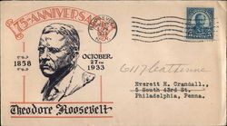 75th Anniversary 1858-1933 Theodore Roosevelt Cover