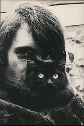 Man with Cat, 1967 Postcard