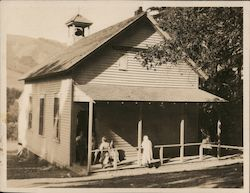 Edenvale School, students on porch, bell ringing Original Photograph