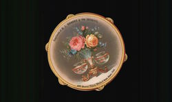 Tambourine Shaped Card With Goldfish Bowls - B.J. Rhodes & Co. Druggists Trade Card