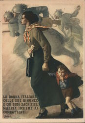 La Donna Italiana. Woman and young boy marching in step into battle with soldiers Postcard