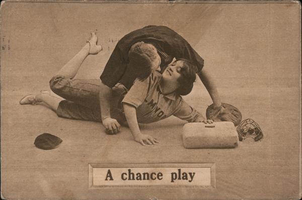 A Chance Play Couple Cuddling At Base Baseball