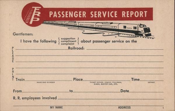 FRP Railroad Passenger Feedback Form Cleveland Ohio