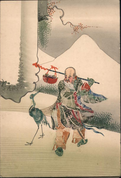 Chinese Man and Stork Made of Stamps Montage China