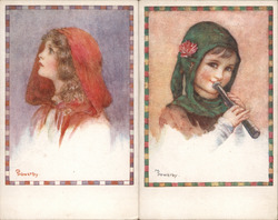 Lot of 2: Millicent Sowerby, Girls Postcard