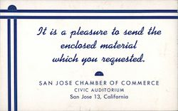 San Jose Chamber of Commerce: It Is A Pleasure To Send the Enclosed Material Which You Requested Blotter