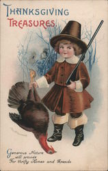 Thanksgiving treasures. Pilgrim boy with gun holding turkey Postcard