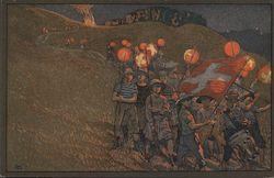 Line of boys walking with White Cross Balloons and flag. Postcard