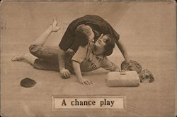 A Chance Play Couple Cuddling At Base Postcard