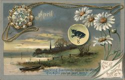 April, Taurus, Daisy, Diamonds - Sentiments of the Month Postcard