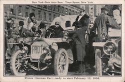 New York - Paris Auto Race. Times Square, New York. Protos (German Car) ready to start. Trade Card