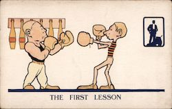 The First Lesson (Boxing) - ad for shoes Postcard