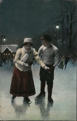 Couple Ice Skating Outdoors At Night Postcard