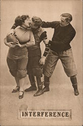 Interference. Football romance, man stealing football while kissing woman player. Postcard