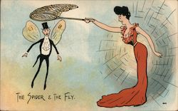 The Spider & the Fly. Woman in red dress, spider web uses net to catch man fly Postcard