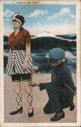 """Within The Law"" Policeman Measuring Woman's Bathing Suit, Legs Postcard"
