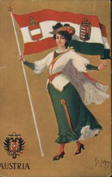 Austria shield, flag, woman in costume