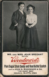 Mr. and Mrs. Jean Bregant Selling Woodward's Candies Postcard