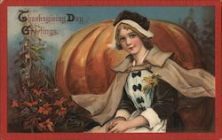 Thanksgiving Day Greetings, Pilgrim girl and pumpkin Postcard