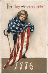 The day we celebrate 1776. Little boy with sword holding flag Postcard