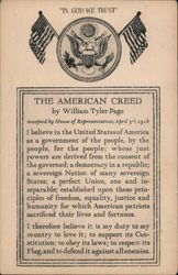 The American Creed by William Tyler Page, 1918 Postcard