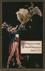 Here's to the American Eagle; The liberty bird that permits no liberties. Postcard