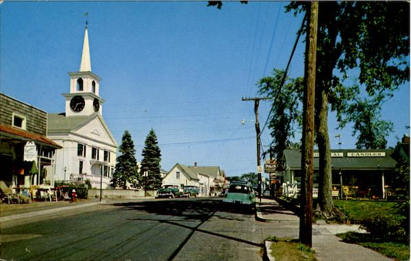 Main Street, Showing West Dennis Community Church , West Dennis Cape Cod Massachusetts