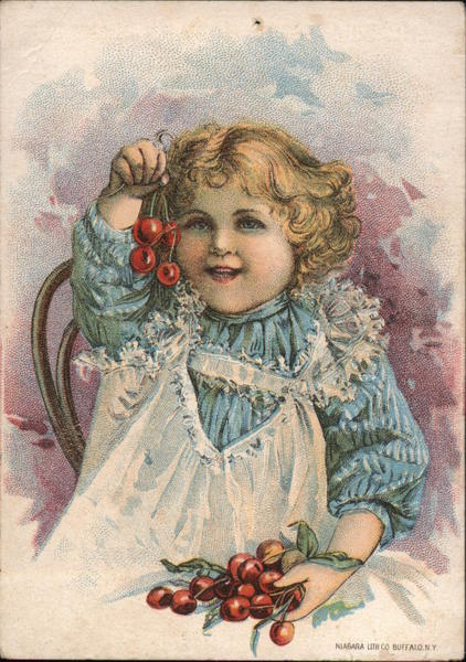 Girl in Frilly Dress with Cherries - Standard Rotary Sewing Machine Cleveland Ohio