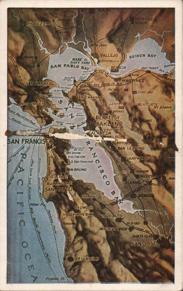 Topographical View of San Francisco Bay Area Maps