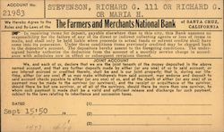 The Farmers and Merchants National Bank account registration form Other Ephemera