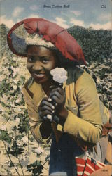 Black Woman in a Big Hat Holding a Cotton Boll Postcard
